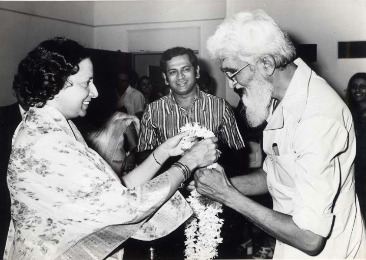 Rani Vijaya Devi greeting M.F. Husain at his exhibition for the society in the 70s. Mr.S.M. Krishna, Chief Guest looks on © IMAS Archives